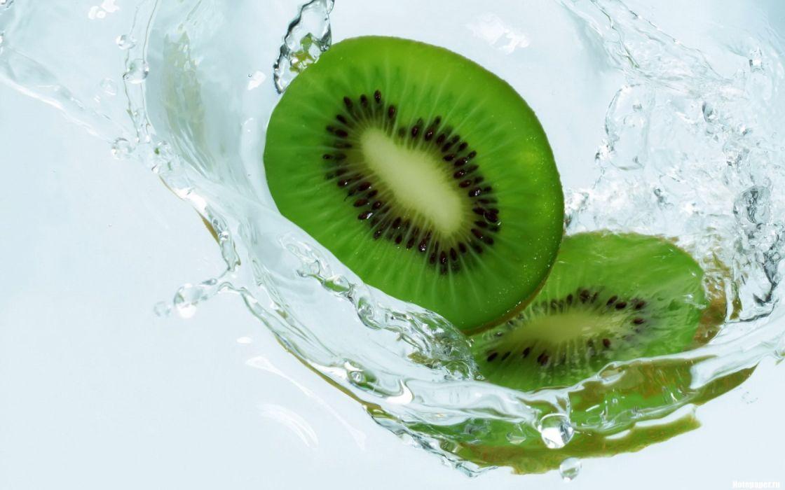 water fruits kiwi white background wallpaper