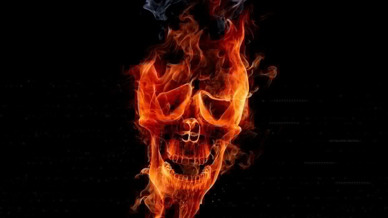 flames skulls fire digital art wallpaper