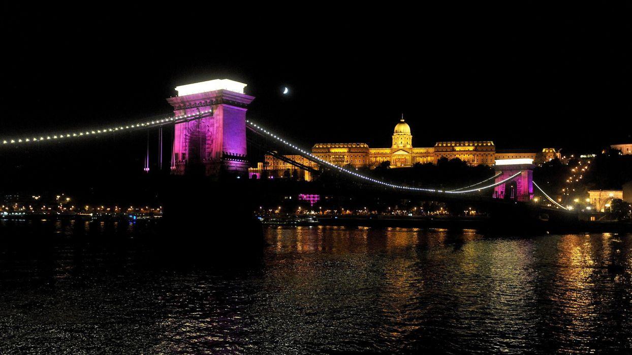 castles bridges Hungary Budapest chains Danube River cancer wallpaper