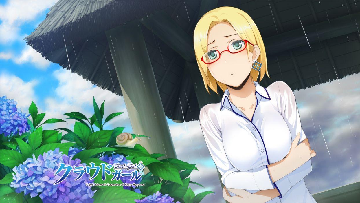 rain glasses Microsoft short hair meganekko Claudia Madobe wallpaper