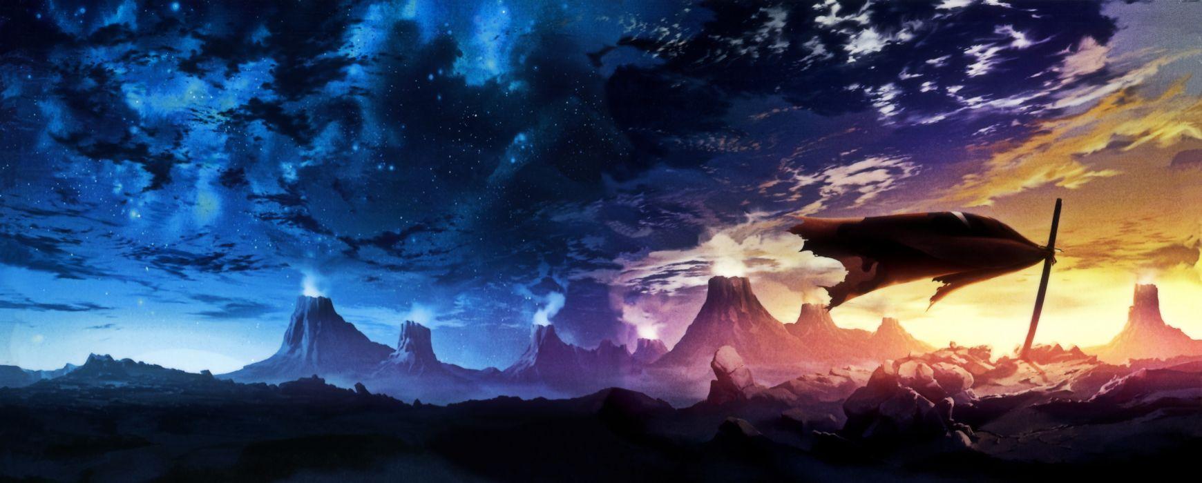 sunset blue clouds Kamina katana violet Tengen Toppa Gurren Lagann cloaks capes graves wallpaper