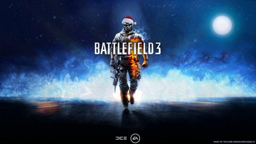 video games Christmas Battlefield 3 first person shooter wallpaper