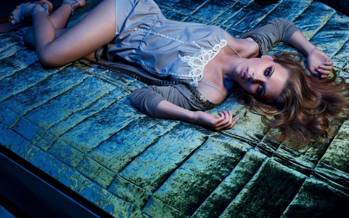 brunettes women Scarlett Johansson lying down gray dress wallpaper