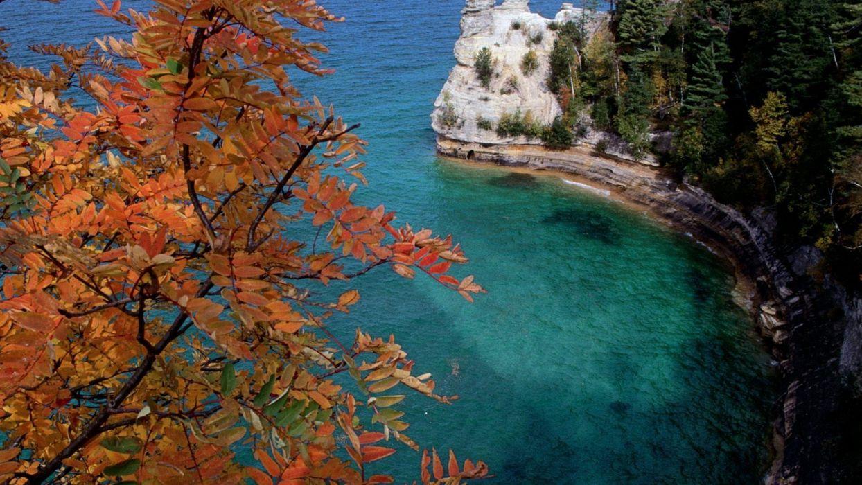 landscapes rocks Michigan National Park Lake Superior wallpaper
