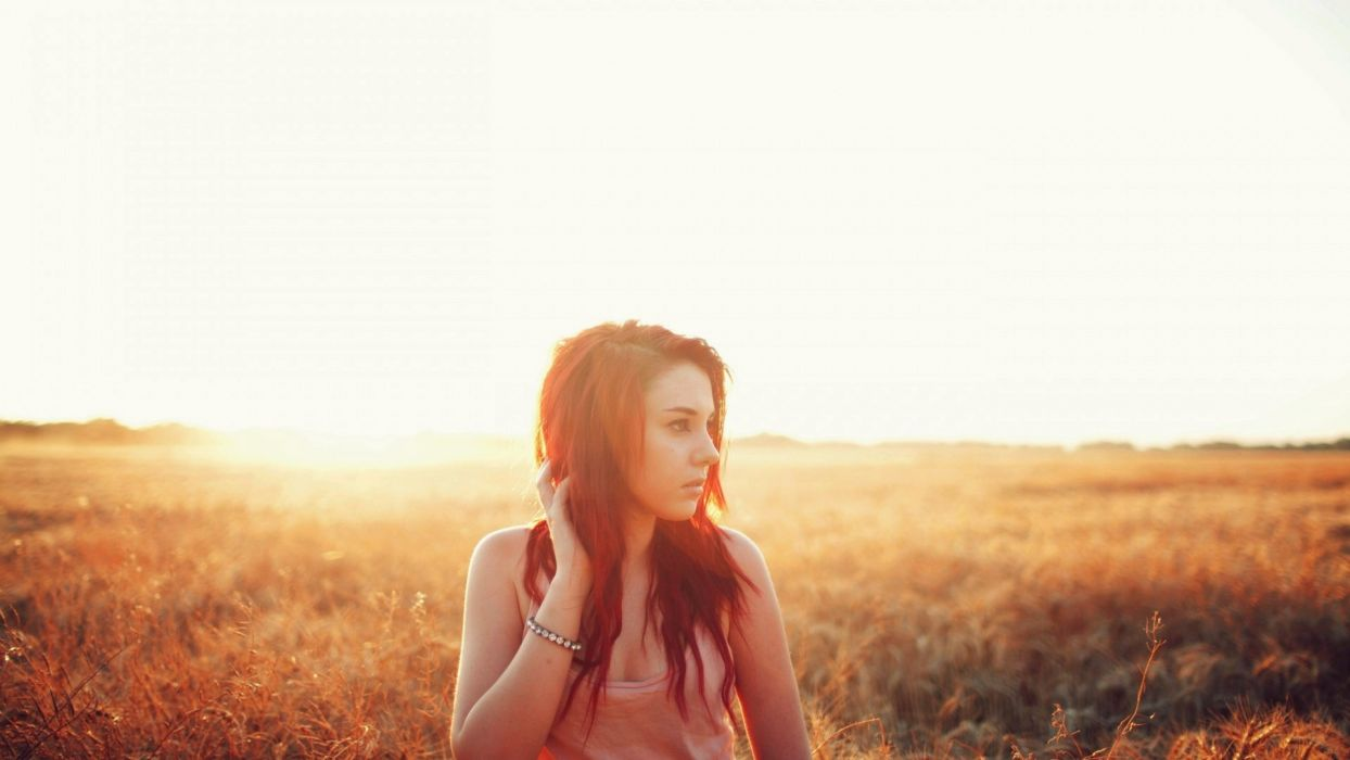 brunettes women Sun models crops wallpaper