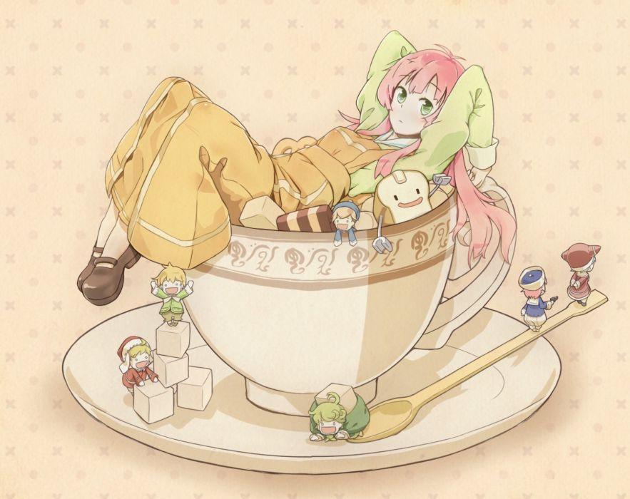 dress food cups long hair green eyes pink hair anime girls Jinrui wa Suitai Shimashita Watashi wallpaper