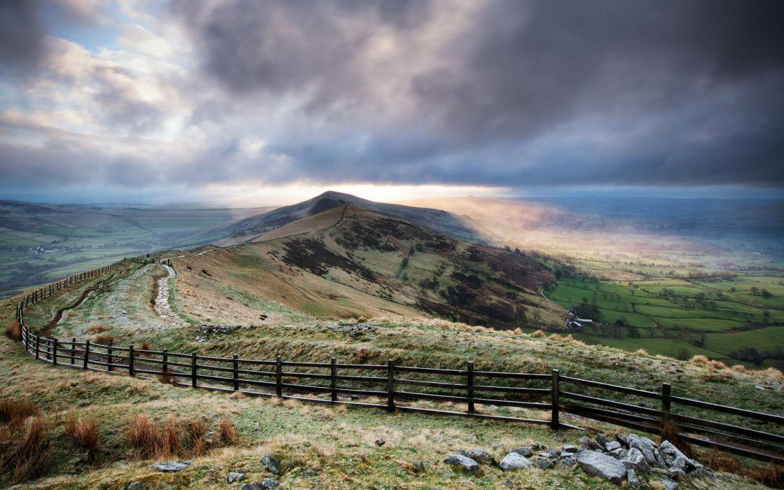 clouds landscapes fences cobblestone road wallpaper