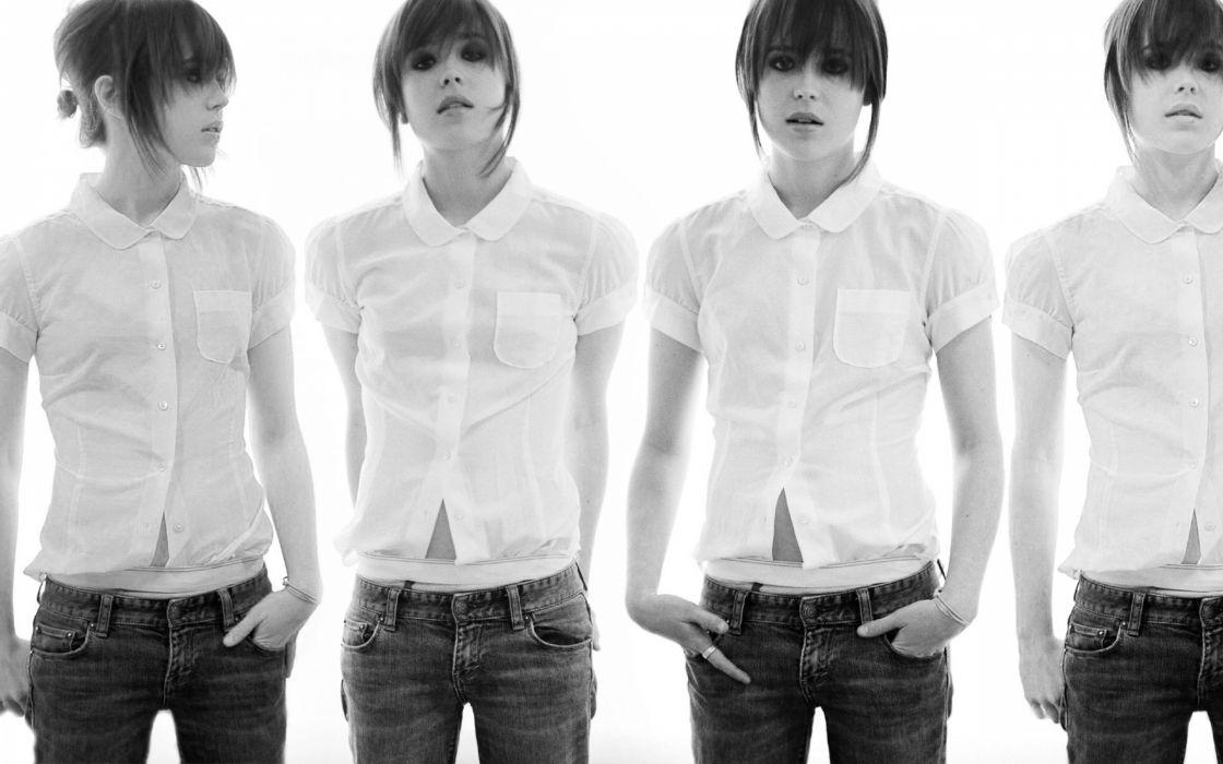 women black and white Ellen Page actress bangs wallpaper