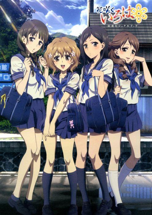 school uniforms Hanasaku Iroha Matsumae Ohana Tsurugi Minko Oshimizu Nako Wakura Yuina anime girls knee socks wallpaper