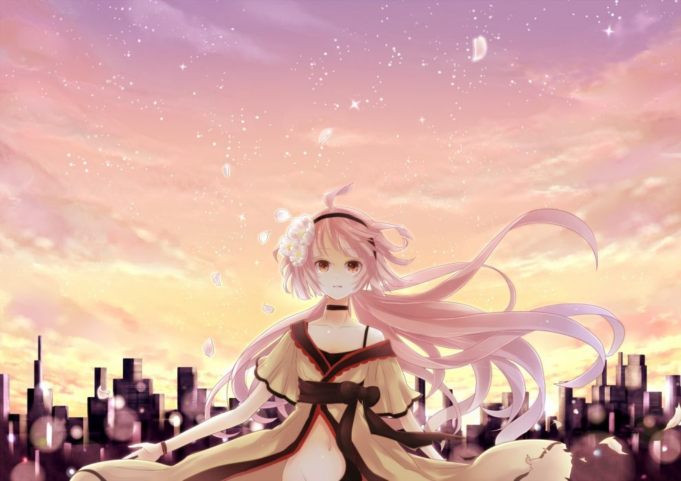 landscapes cityscapes Vocaloid dress flowers stars pink long hair pink hair scenic bows ponytails flower petals orange eyes skyscapes hair band Nekomura Iroha wallpaper