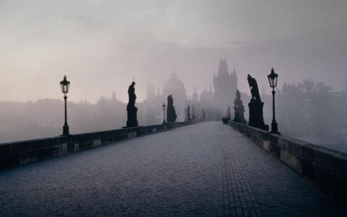 castles autumn cityscapes fog mist bridges lamps Prague Czech Republic statues street lights evening cities Charles Bridge wallpaper