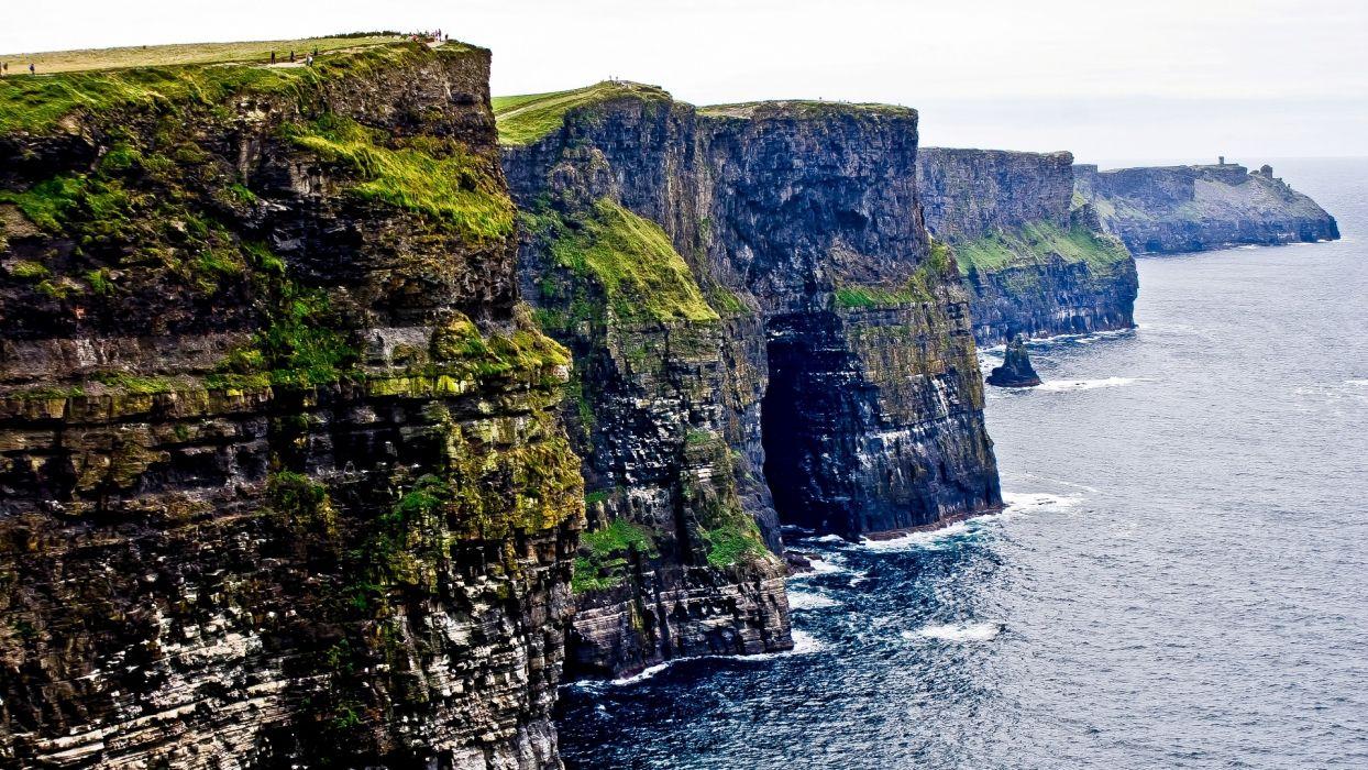 water landscapes nature coast cliffs Ireland Cliffs of Moher Galway wallpaper