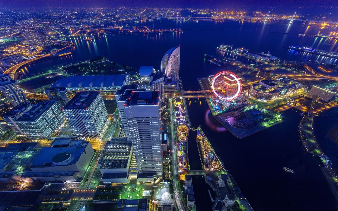 Japan Tokyo cityscapes Yokohama city lights wallpaper