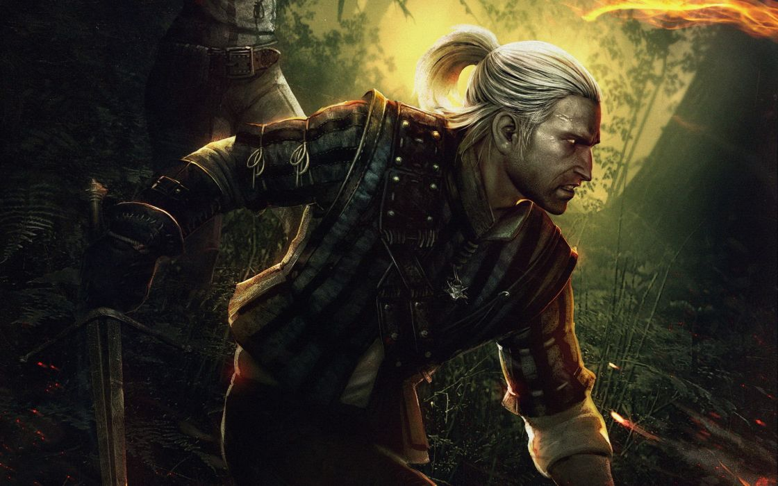 video games men The Witcher Geralt of Rivia white hair The Witcher 2: Assassins of Kings wallpaper