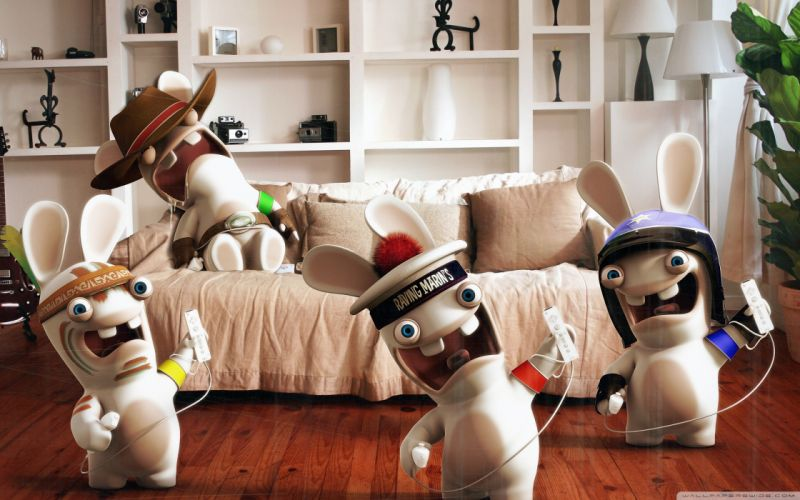 video games funny Nintendo Wii rayman Raving Rabbids wallpaper
