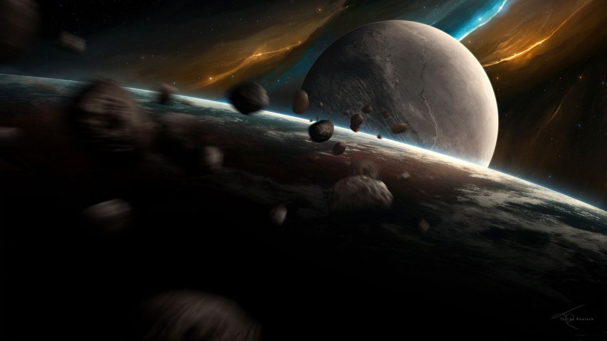 outer space planets asteroids wallpaper