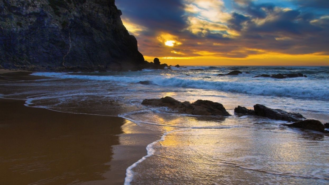 sunset landscapes nature smooth beaches wallpaper