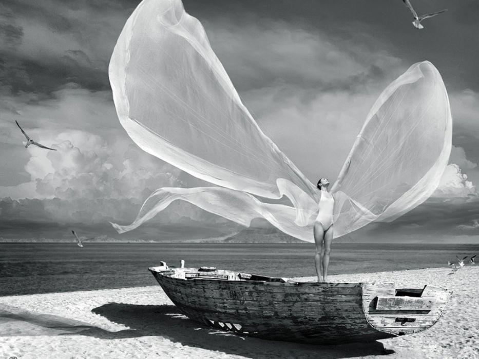 women ocean wings boats beaches wallpaper