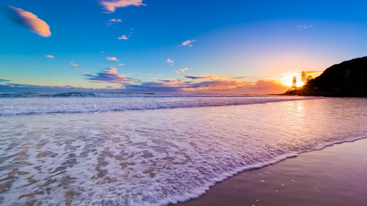 sunrise ocean landscapes nature Australia beaches wallpaper