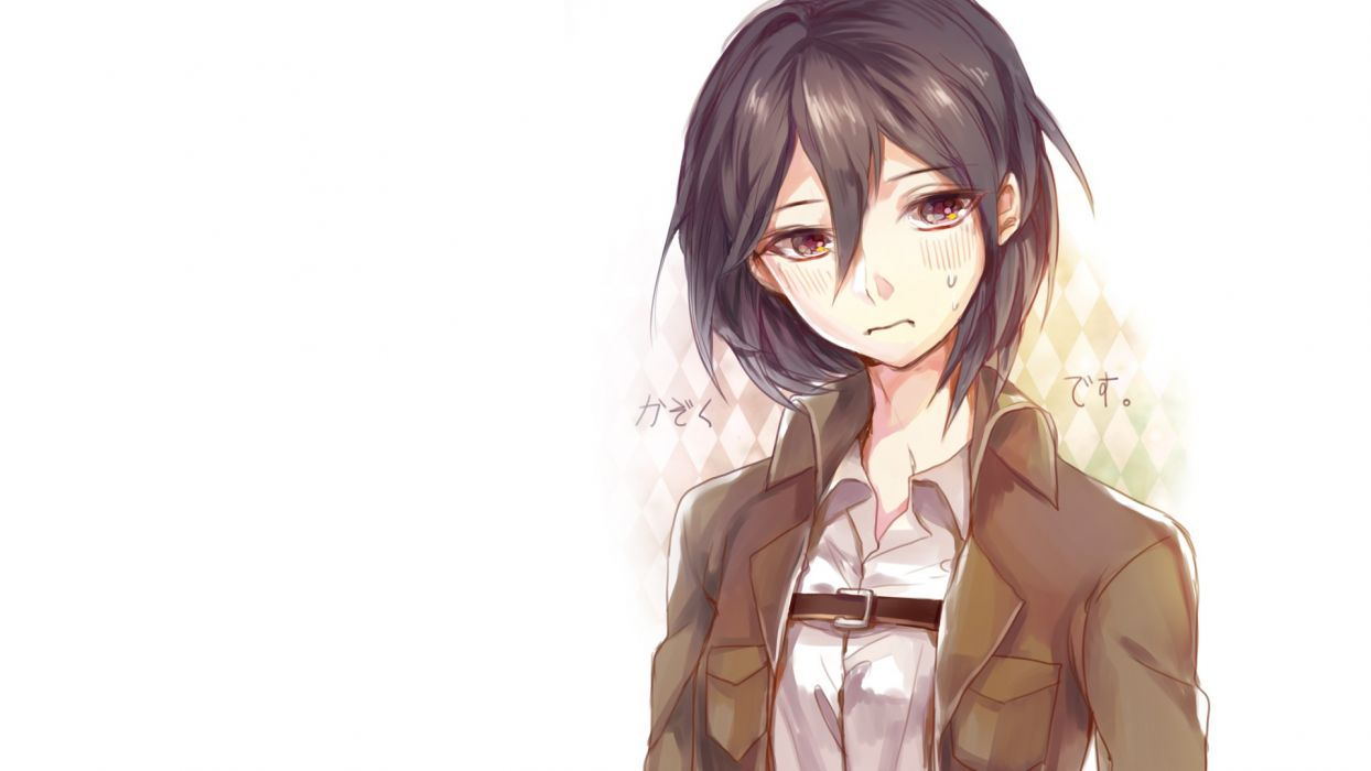 anime simple background anime girls white background Shingeki no Kyojin Mikasa Ackerman wallpaper
