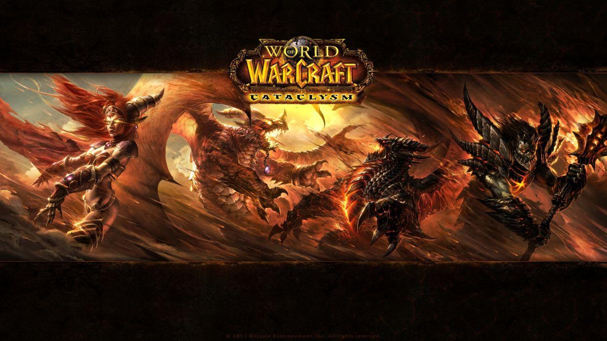 video games World of Warcraft deathwing Blizzard Entertainment Alexstrasza widescreen wallpaper