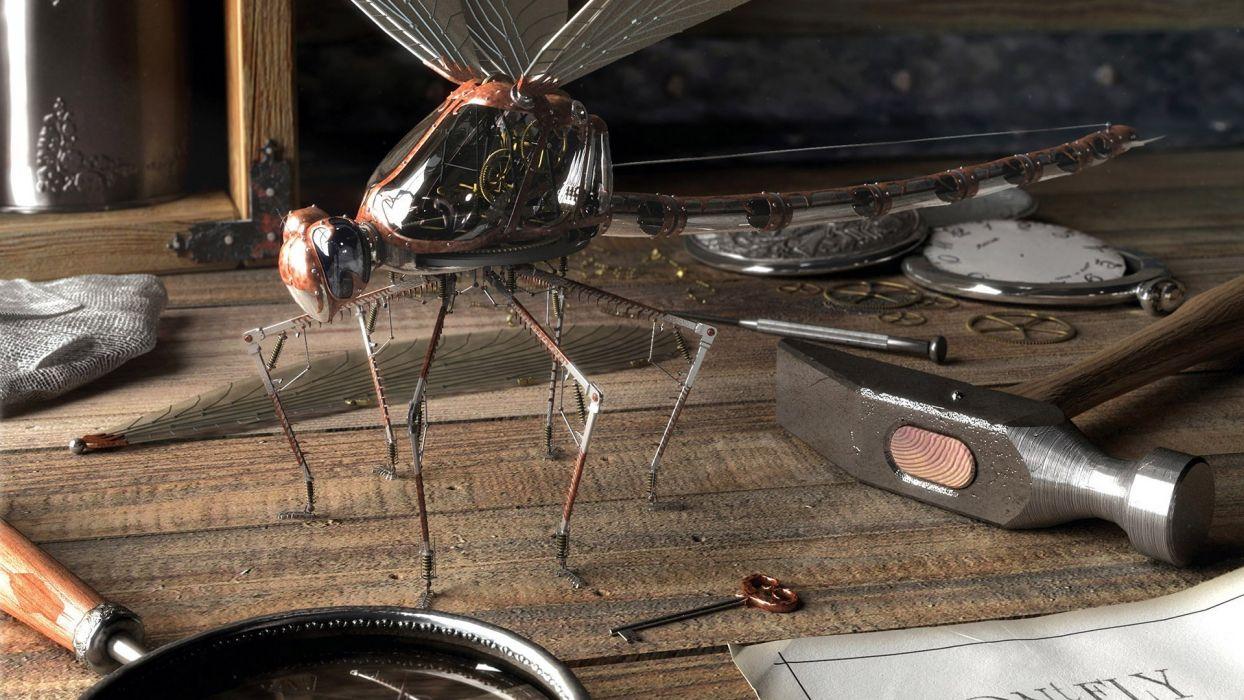 steampunk artwork dragonflies wallpaper