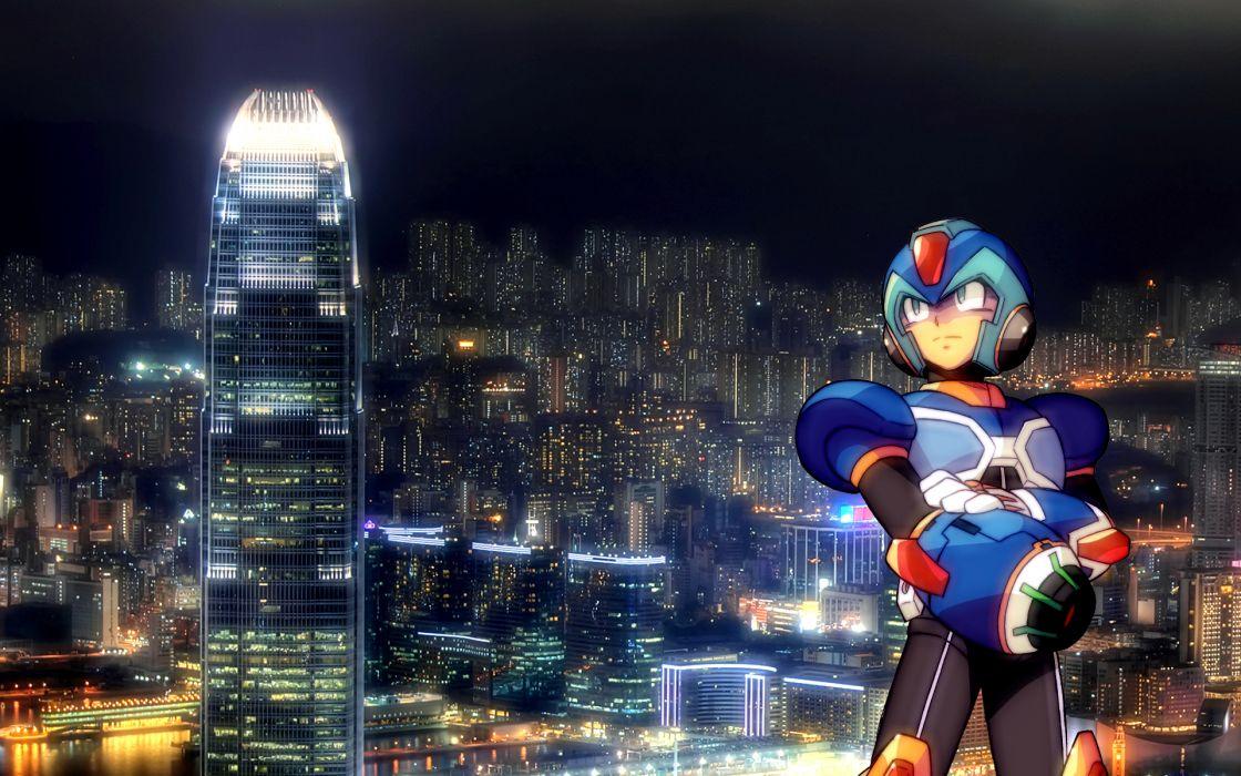 cityscapes Mega Man skyscrapers anime Mega Man X wallpaper