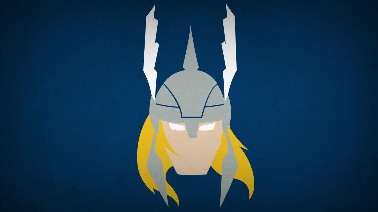 minimalistic Thor superheroes Marvel blue background blo0p wallpaper