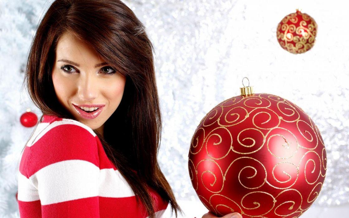 brunettes women christmas toys wallpaper