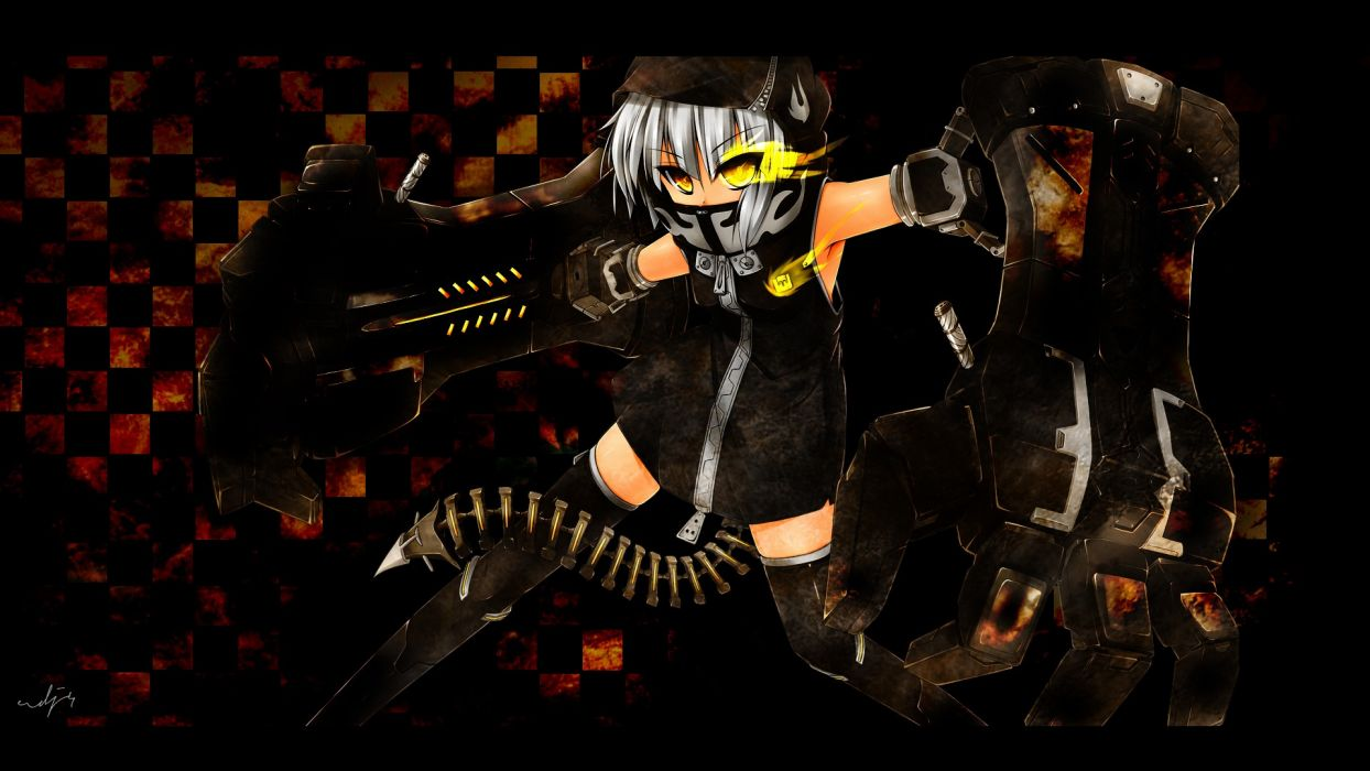 tails dark dress Black Rock Shooter cyborgs mechanical short hair thigh highs yellow eyes checkered black dress hoodies white hair zippers Strength anime girls glowing eyes mechanical arm wallpaper