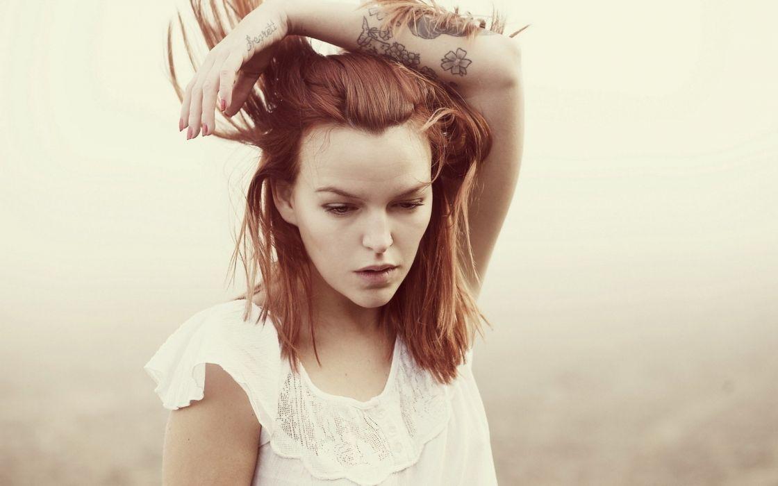 tattoos women redheads looking down wallpaper