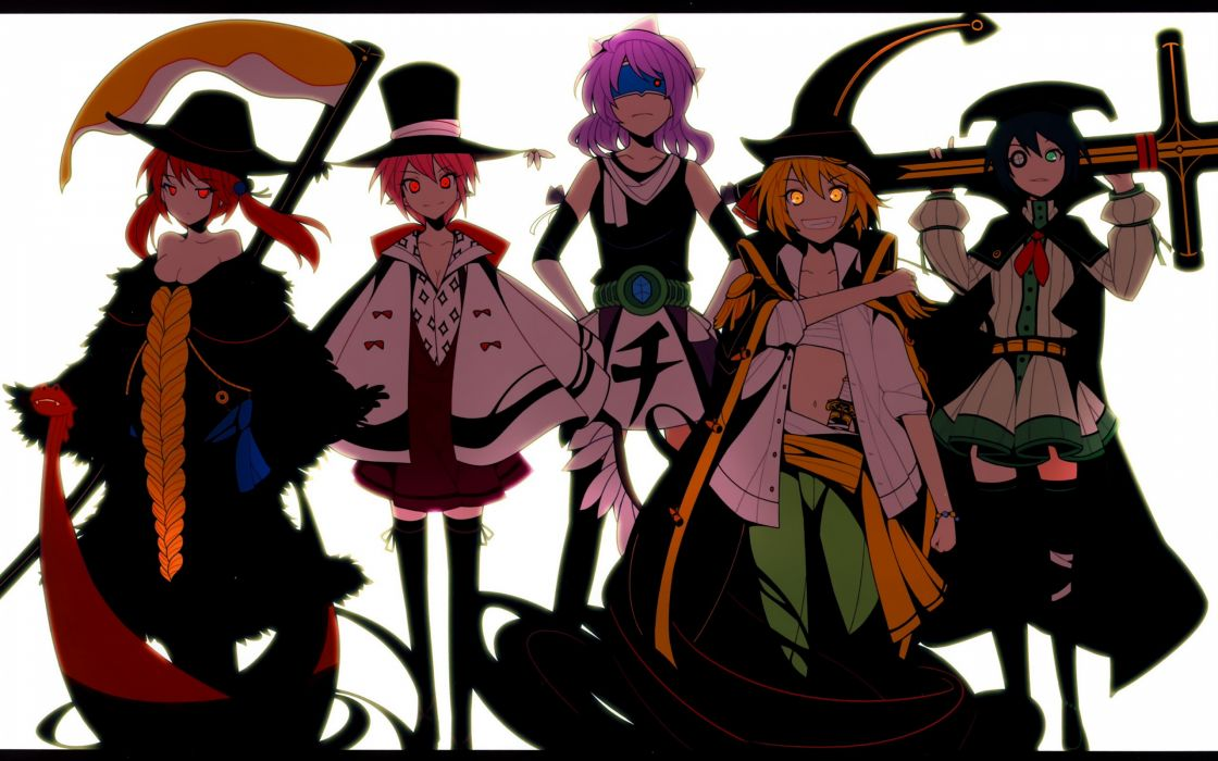 blondes video games Touhou One Piece (anime) scythe redheads cleavage long hair belts ribbons sailors weapons eyepatch blindfolds green eyes purple hair shinigami boats red eyes short hair thigh highs yellow eyes twintails Kirisame Marisa teeth grin navel wallpaper