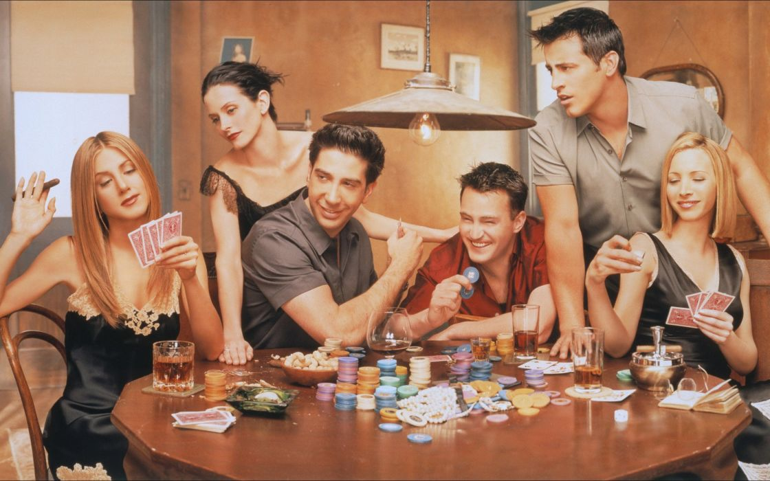poker Jennifer Aniston friends Courteney Cox Lisa Kudrow Matt Leblanc Matthew Perry David Schwimmer Rachel Green Friends (TV Series) wallpaper