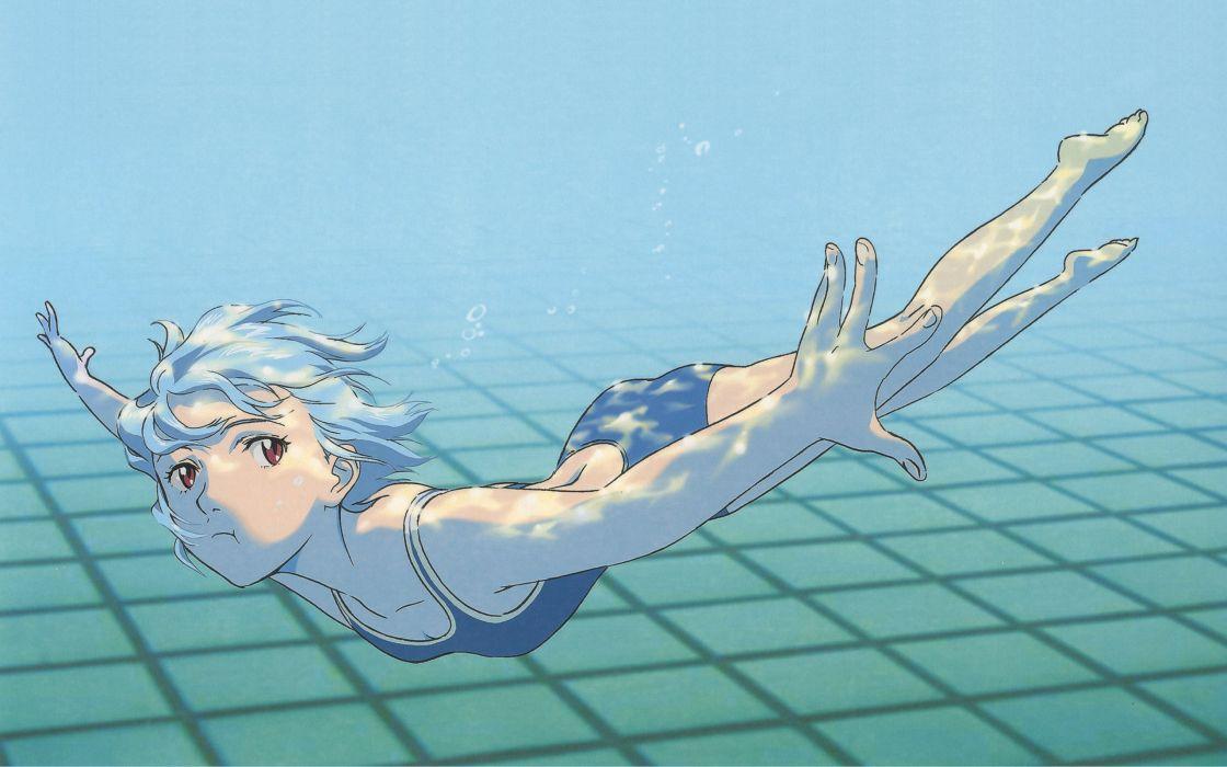 Ayanami Rei Neon Genesis Evangelion red eyes swimming swimsuits anime girls underwater wallpaper