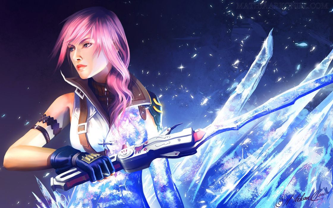 Final Fantasy video games blue gloves blue eyes lips long hair weapons pink hair Final Fantasy XIII crystals artwork Claire Farron signatures swords wallpaper