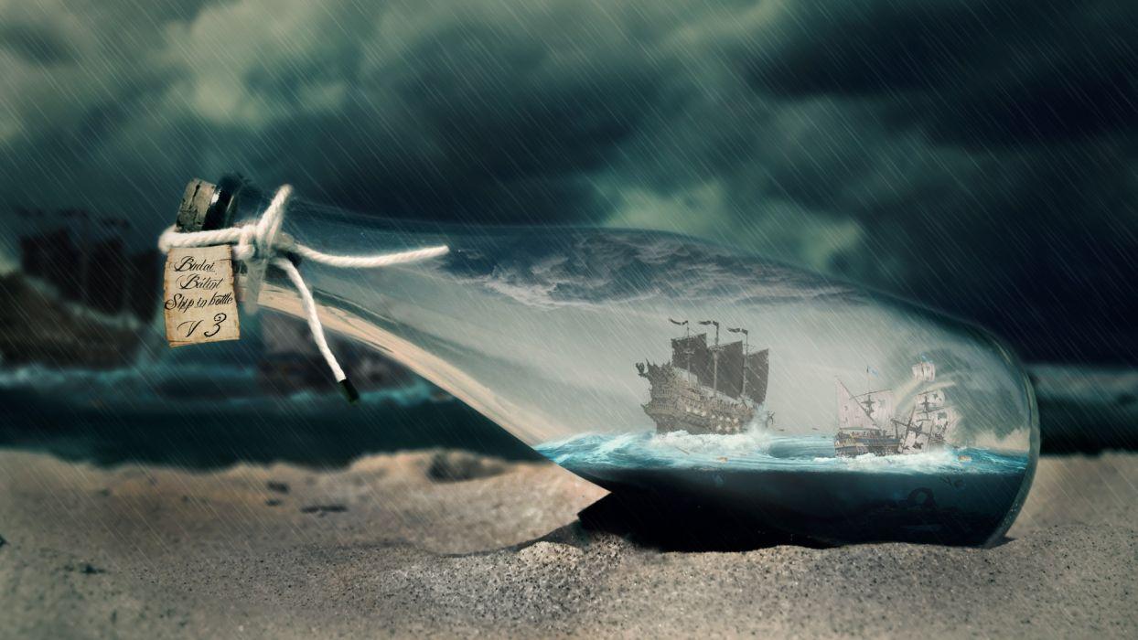 sand rain storm bottles ships battles vortex ship in bottle Budai BAIAAlint sea wallpaper