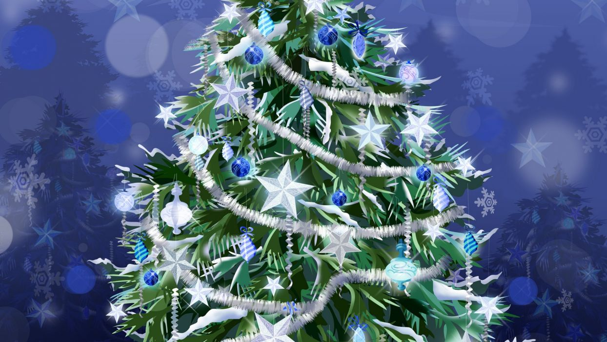 trees stars Christmas Christmas trees tinsel decorations wallpaper