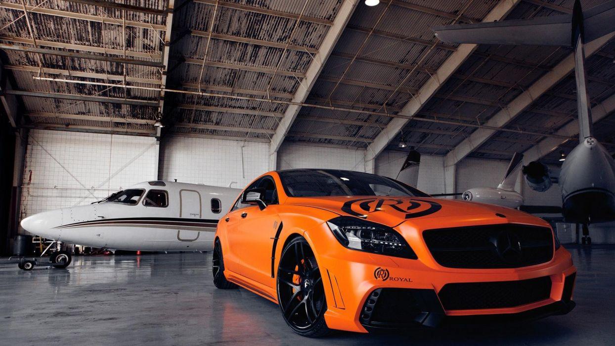 tuning hangar races Mercedes-Benz orange cars Mercedes Benz Mercedes Benz Cls wallpaper