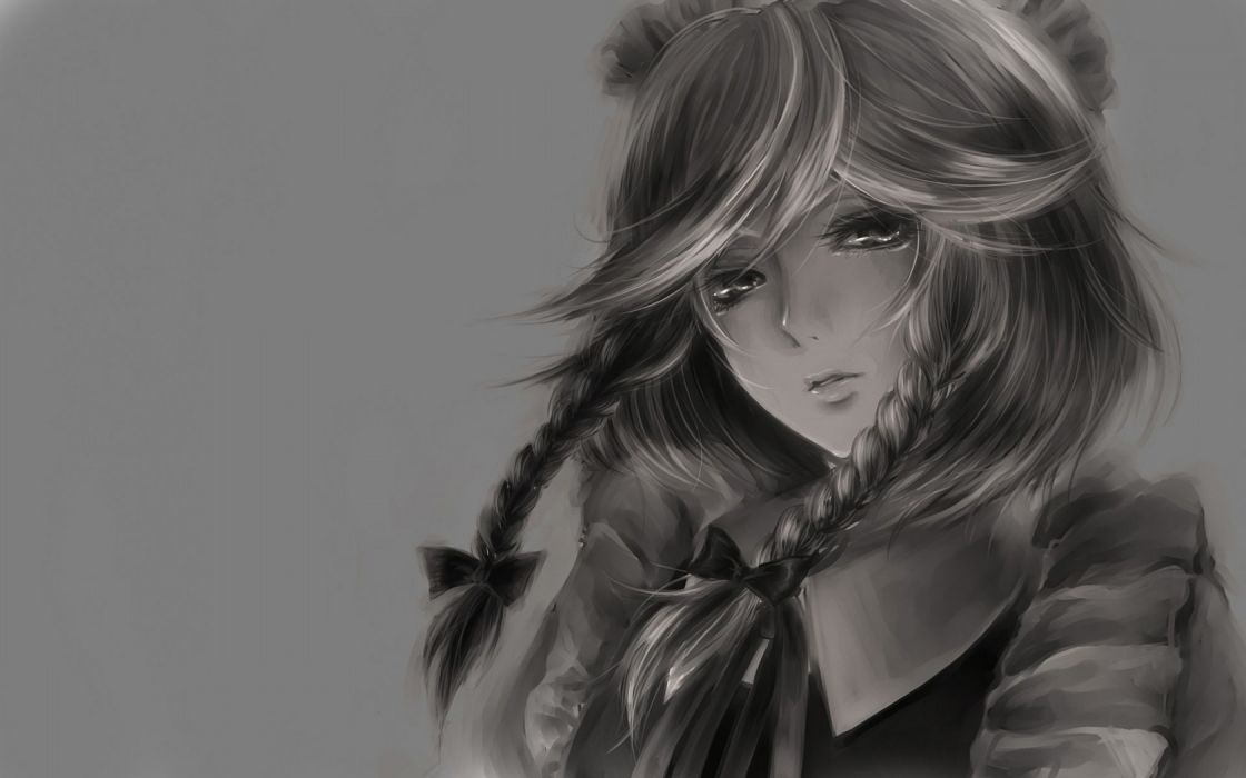 video games Touhou Izayoi Sakuya grayscale simple background anime girls wallpaper