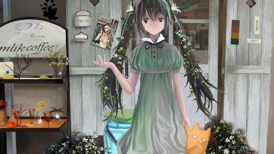 Vocaloid dress flowers Hatsune Miku cats houses long hair outdoors buildings green eyes green hair twintails anime girls green dress hair ornaments doors wallpaper