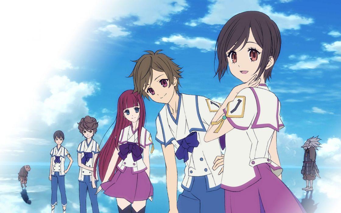 water clouds anime boys skyscapes anime girls Shinsekai Yori Akizuki Maria Aonuma Shun Asahina Satoru Ito Mamoru Watanabe Saki Shin Sekai Yori wallpaper