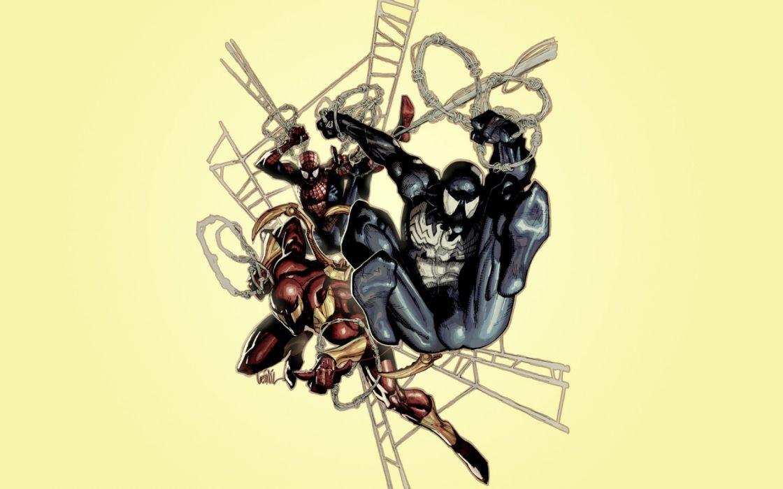 comics Venom Spider-Man superheroes Marvel Comics Peter Parker Iron Spider wallpaper