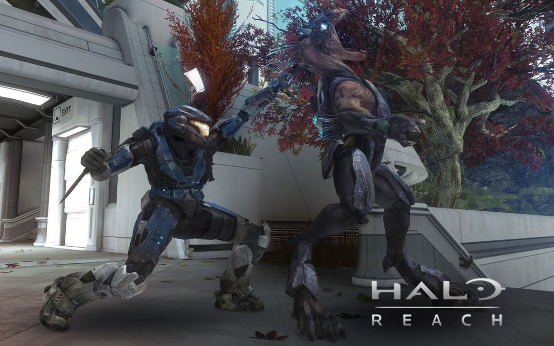 video games monsters fight Halo video armor Halo Reach battles knives game wallpaper