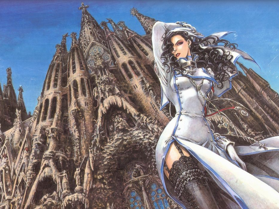 brunettes thigh highs Trinity Blood wallpaper
