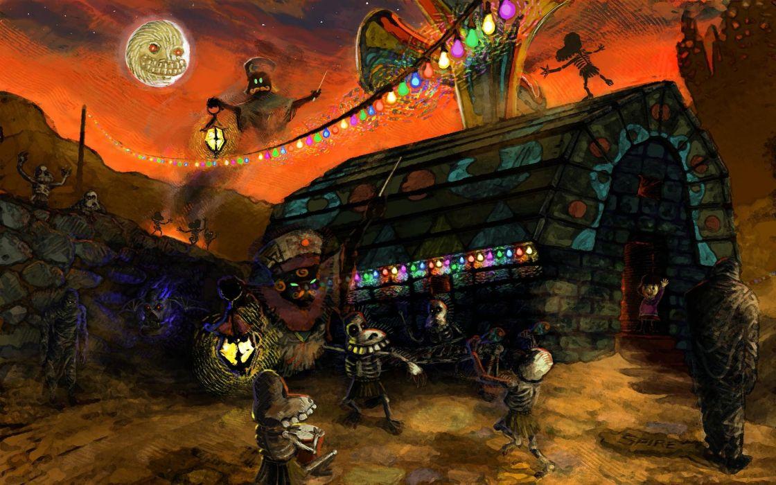 Nintendo video games cityscapes zombies Moon houses DeviantART lanterns ghosts The Legend of Zelda: Majoras Mask wallpaper