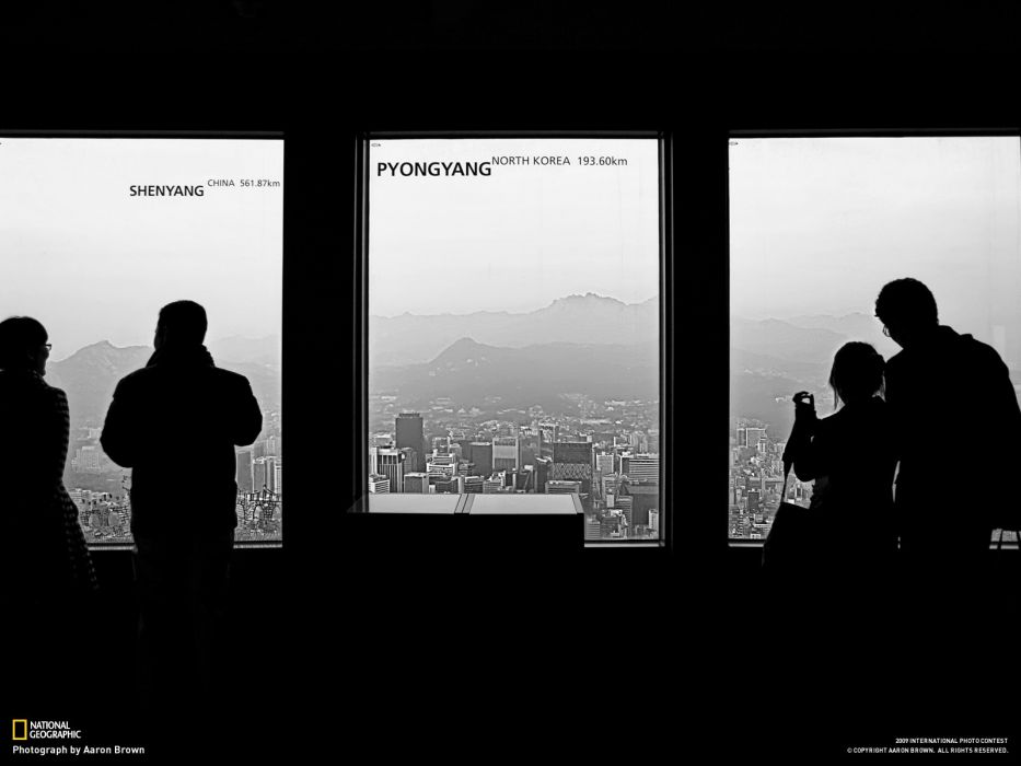 cityscapes silhouettes National Geographic Seoul window panes South Korea Pyongyang wallpaper
