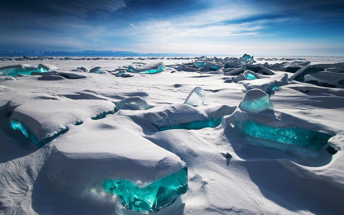 ice clouds landscapes snow Russia icebergs upscaled wallpaper