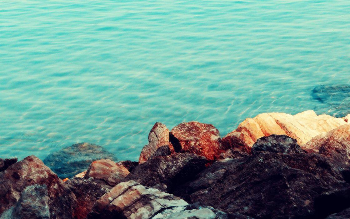 water rocks sea wallpaper