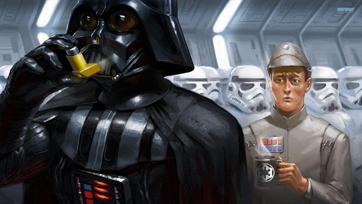 Star Wars stormtroopers Darth Vader drawn wallpaper
