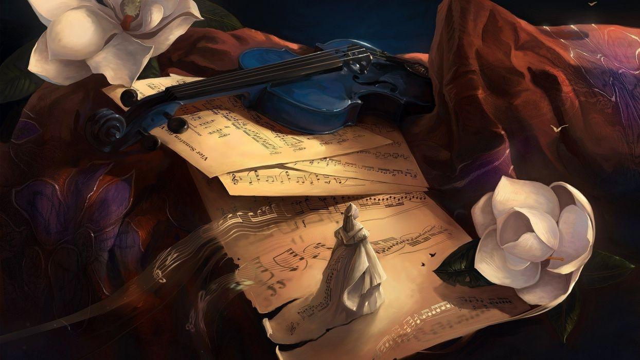 fantasy music flowers violins sheet wallpaper